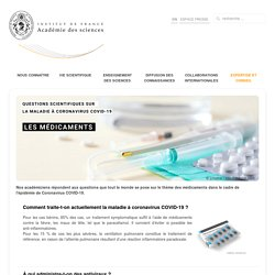 La maladie à coronavirus Covid-19 : les médicaments