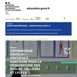 Coronavirus Covid-19 – Protocole sanitaire pour la réouverture des écoles, collèges et lycées