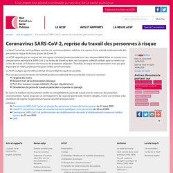 Coronavirus SARS-CoV-2, reprise du travail des personnes à risque