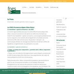 Face au coronavirus : les ressources du réseau de la Fnes - FNES