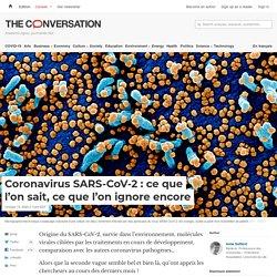 Coronavirus SARS-CoV-2: ceque l'on sait, ceque l'on ignore encore