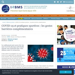 Coronavirus (COVID-19) et sport : gestes barrières spécifiques - IRBMS