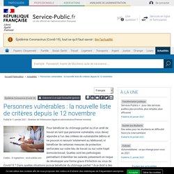 Épidémie Coronavirus (Covid-19) -Personnes vulnérables: la nouvelle liste de critères depuis le 12 novembre