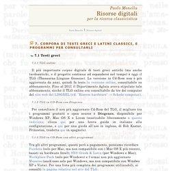 7. Corpora di testi greco-latini - Risorse digitali per la ricerca classicistica