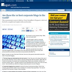 Are these the 10 best corporate blogs in the world?