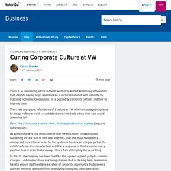 3.10.2 Curing Corporate Culture at VW