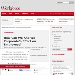 How Can We Analyze Corporate's Effect on Employees?