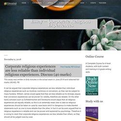 Essay - Corporate Religious Experiences