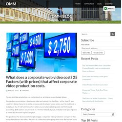 What does a corporate web video cost? 25 Factors (with prices) that affect corporate video production costs.