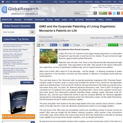 GMO and the Corporate Patenting of Living Organisms: Monsanto's Patents on Life