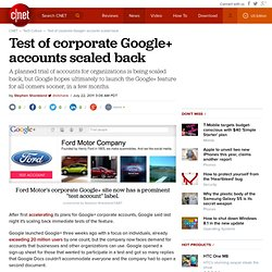Test of corporate Google+ accounts scaled back