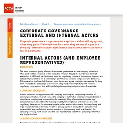 Corporate governance – external and internal actors