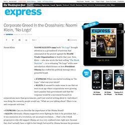 Corporate Greed In the Crosshairs: Naomi Klein, 'No Logo'
