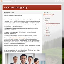 corporate photography : Learn corporate event photography