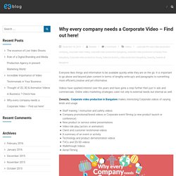 Why every company needs a Corporate Video – Find out here! – Zweezle
