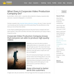 What Does A Corporate Video Production Company Do?
