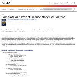 Corporate and Project Finance Modeling Content