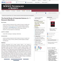 The Social Study of Corporate Science: A Research Manifesto