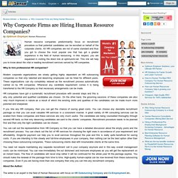 Why Corporate Firms are Hiring Human Resource Companies? by Optimum Employer