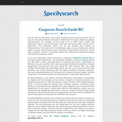 Corporate Search Guide BC ~ Speedysearch