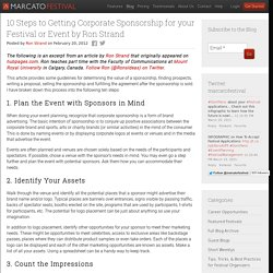 10 Steps to Getting Corporate Sponsorship for your Festival or Event by Ron Strand