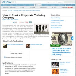 How to Start a Corporate Training Company
