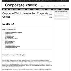 Corporate Watch : Nestlé SA : Corporate Crimes
