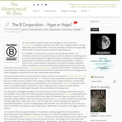The B Corporation - Hype or Hope?