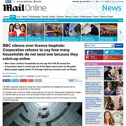 BBC silence over licence loophole: Corporation refuses to say how many households do not need one because they catch-up online