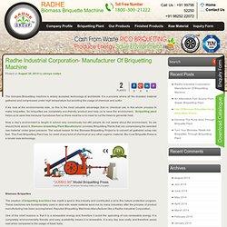 Radhe Industrial Corporation- Manufacturer Of Briquetting Machine