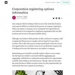 Corporation registering options information - Form Firm - Medium