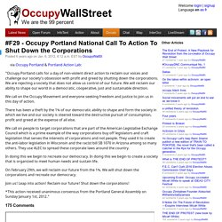 #F29 - Occupy Portland National Call To Action To Shut Down the Corporations