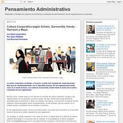 Cultura Corporativa según Schein, Garmendia, Handy-Harrison y Mayo.