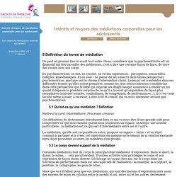 Intérêts et risques des médiations corporelles pour les adolescents - Psychomotricité troisième année