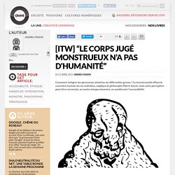 """[itw] """"Le corps jugé monstrueux n'a pas d'humanité"""""""