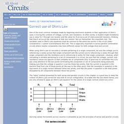 Correct use of Ohm's Law : SERIES AND PARALLEL CIRCUITS - Pale Moon