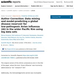 SCIENTIFIC REPORTS 08/02/21 Author Correction: Data mining and model-predicting a global disease reservoir for low-pathogenic Avian Influenza (AI) in the wider Pacific Rim using big data sets