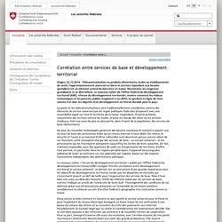Corrélation entre services de base et développement territorial
