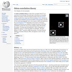 Orion correlation theory