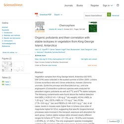 Organic pollutants and their correlation with stable isotopes in vegetation from King George Island, Antarctica - ScienceDirect