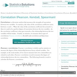 Correlation (Pearson, Kendall, Spearman) - Statistics Solutions