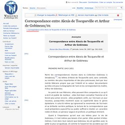 Correspondance entre Alexis de Tocqueville et Arthur de Gobineau/01