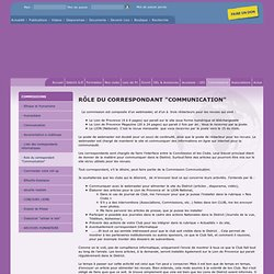 """Role du correspondant """"Communication"""" Rôle du Correspondant """"COMMUNICATION"""""""