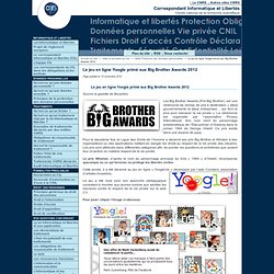 Le jeu en ligne Yoogle primé aux Big Brother Awards 2012