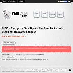 Corrigé de didactique - Nombres Décimaux - CRPE