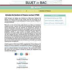 Sujets et corrigés de Gestion et Finance au bac STMG