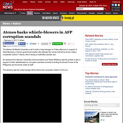 Ateneo backs whistle-blowers in AFP corruption scandals - Nation - GMANews.TV - Official Website of GMA News and Public Affairs - Latest Philippine News