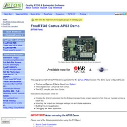 Cortus APS3 FreeRTOS Port and Demo Application