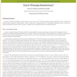Origine e seconda definizione dell'energia geotermica