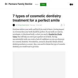 Types of cosmetic dentistry treatment for a perfect smile